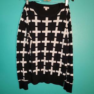 Merona black & white design sweater